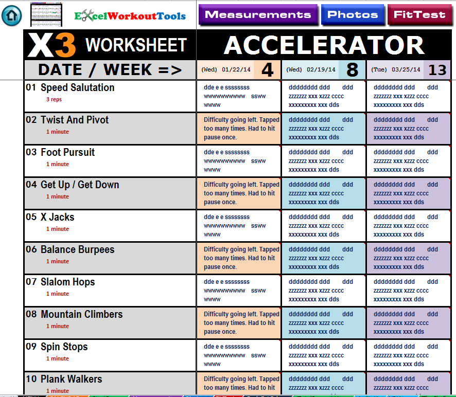 Excel Workout Tool for P90X3 - Excel Workout Tool for P90X
