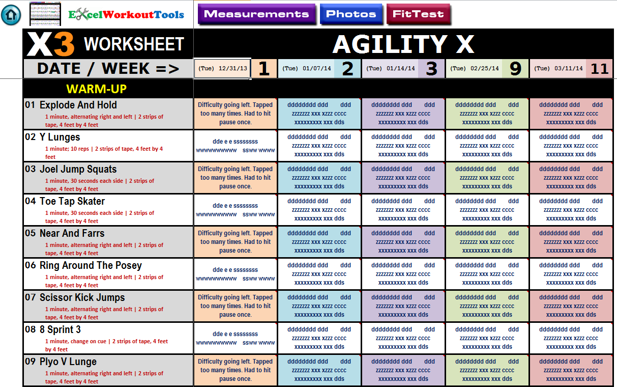 excel workout tool for p90x3 agility x