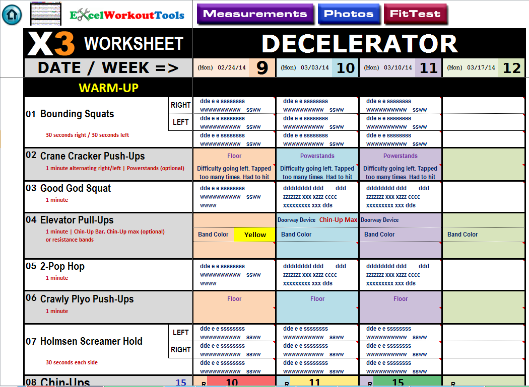 excel workout tools decelerator worksheet