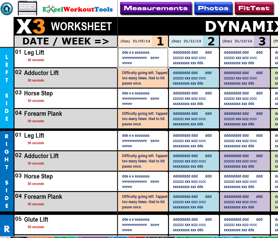 excel workout tools worksheet dynamix