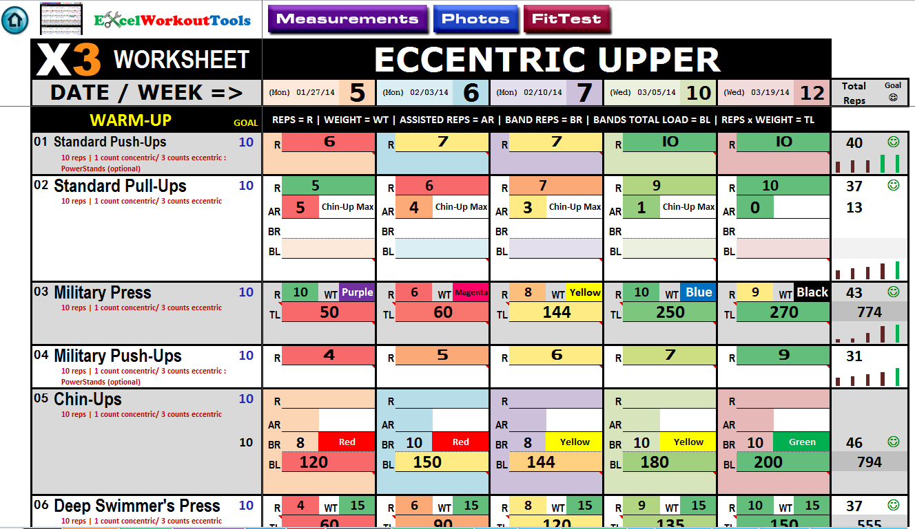 Worksheets Beachbody P90x3 Worksheets excel workout tool for p90x3 eccentric upper
