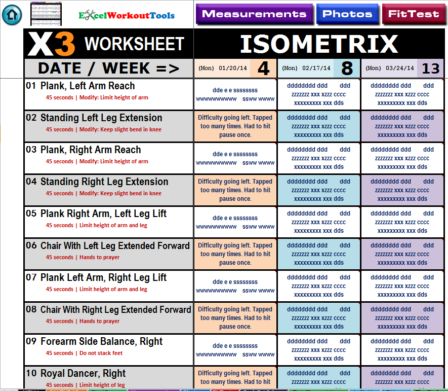 Printables P90x3 Worksheets p90x3 excel workout tools isometrix worksheet