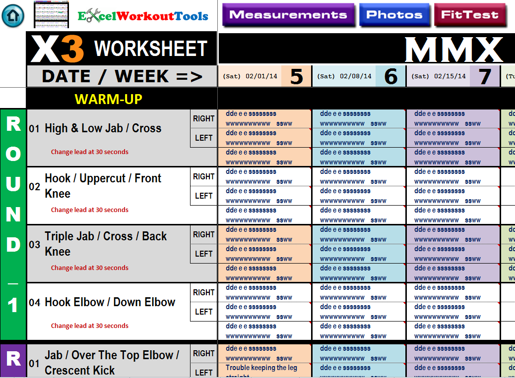 excel workout tool worksheet mmx
