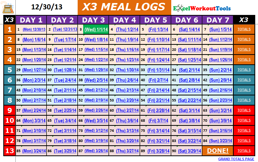 excel workout tools p90x nutrition calendar