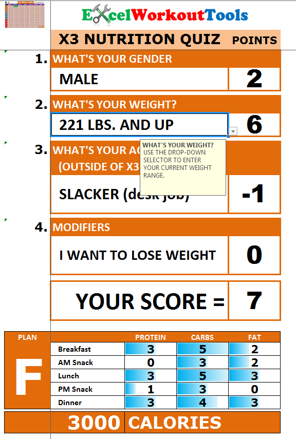 EXCEL WORKOUT TOOLS P90X3 NUTRITION QUIZ