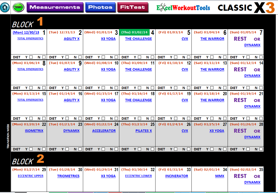 P90x Lean Workout Sheets Master calendar