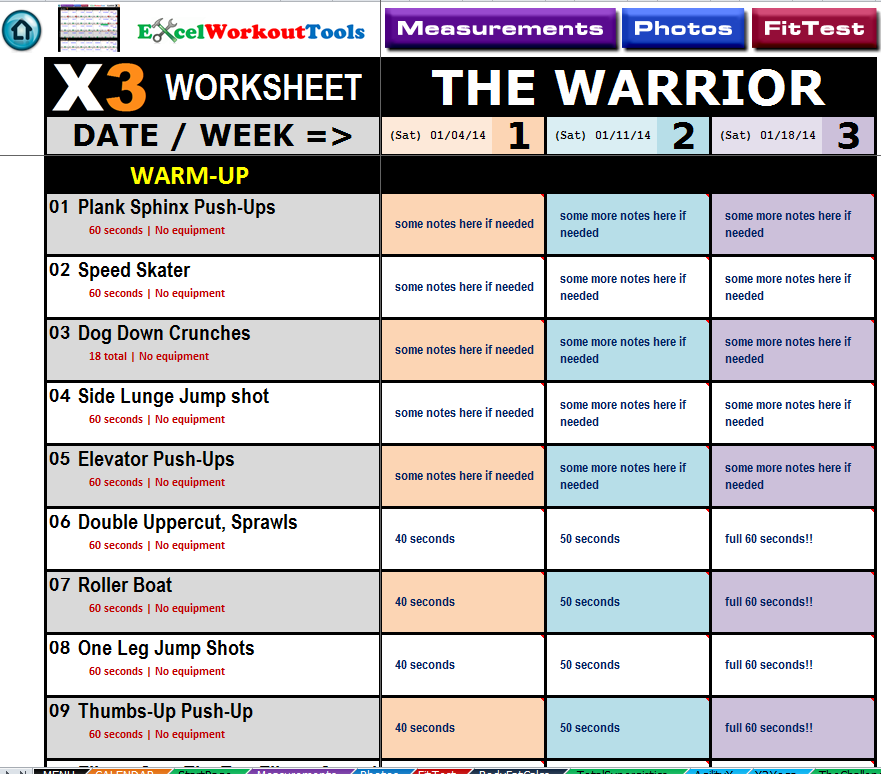 Worksheet P90x Worksheets Excel excel workout tool for p90x3 p90x the warrior