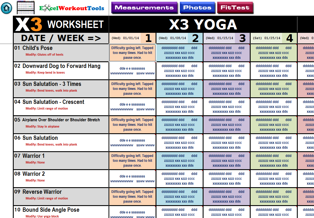 Printables P90x3 Worksheets p90x3 excel workout tools x3 yoga worksheet