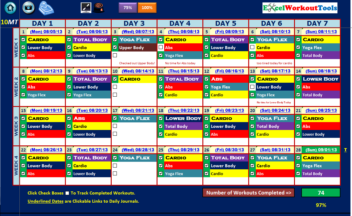 EXCEL WORKOUT TOOLS MASTER CALENDAR - COMPLETED FOR 10-MINUTE TRAINER