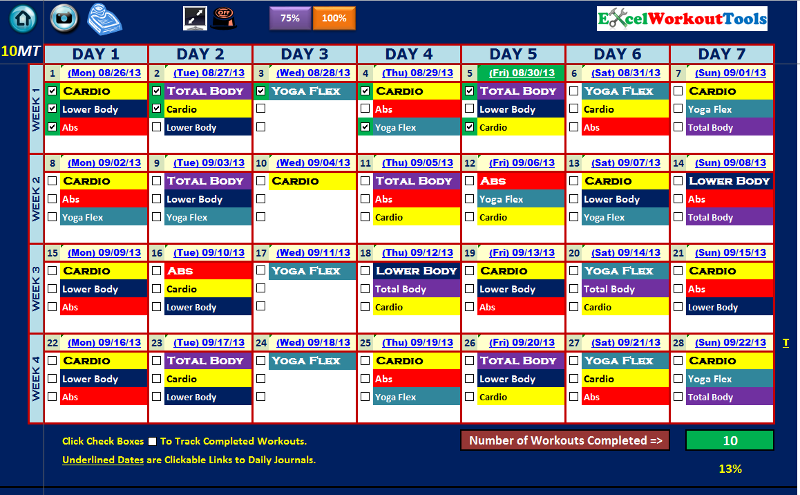 EXCEL WORKOUT TOOLS 10-MINUTE TRAINER MASTER CALENDAR 5