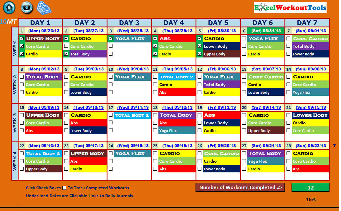 EXCEL WORKOUTOOLS 10-MINUTE TRAINER ACCELERATED CALENDAR