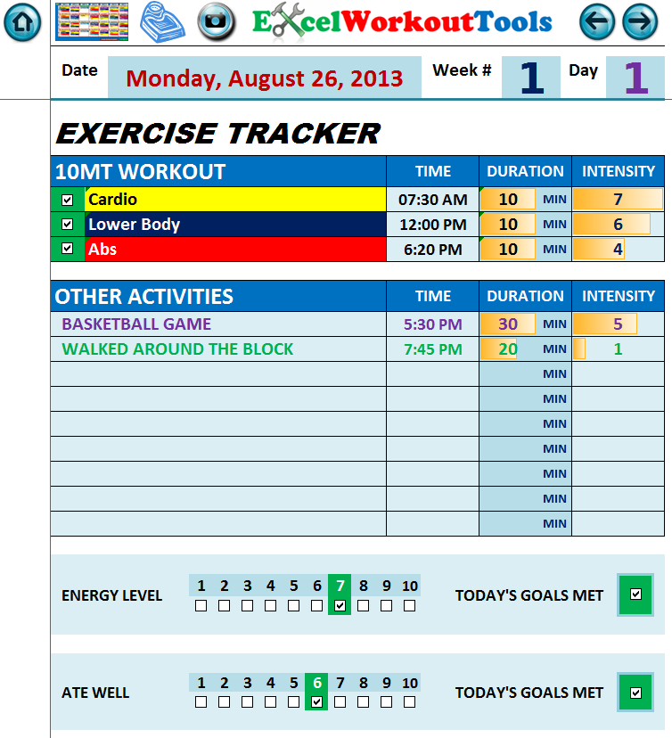 EXCEL WORKOUTOOLS 10-MINUTE TRAINER DAILY JOURNAL