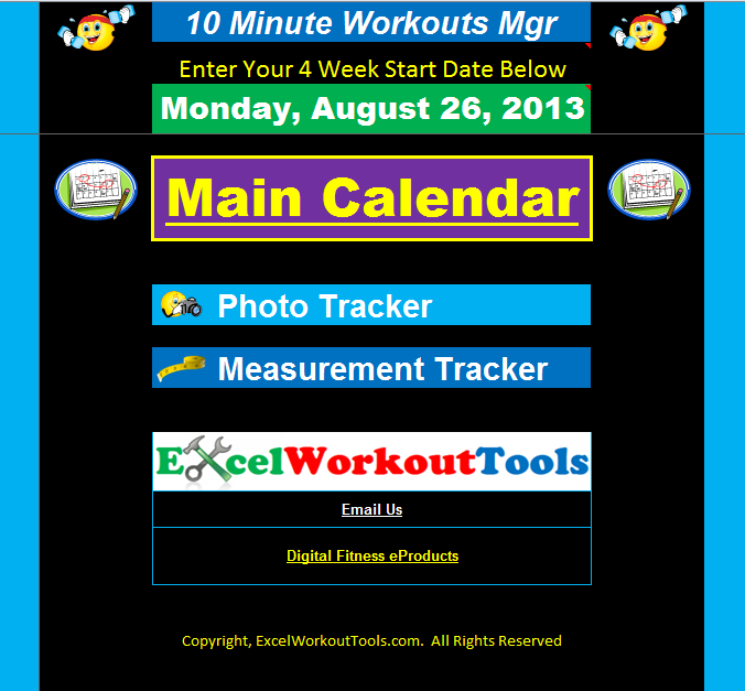 EXCEL WORKOUT TOOLS 10-MINUTE TRAINER MAIN MENU