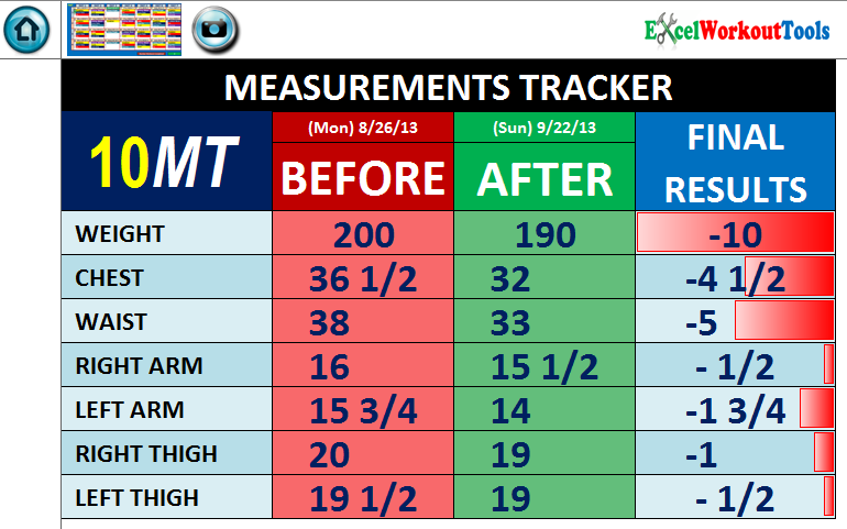 EXCEL WORKOUT TOOLS MEASUREMENT TRACKER