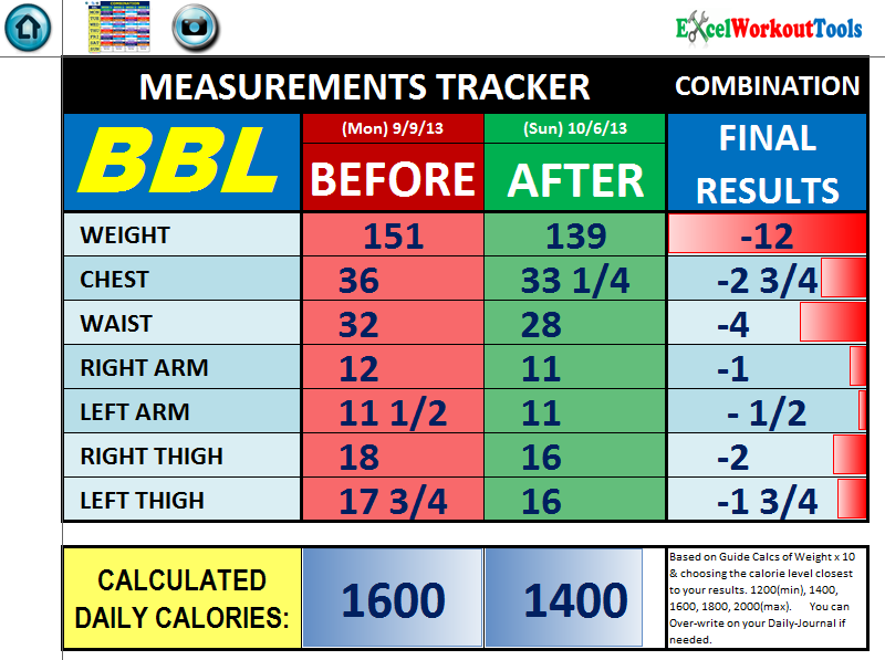 excel workout tools measurement tracker for brazil butt lift
