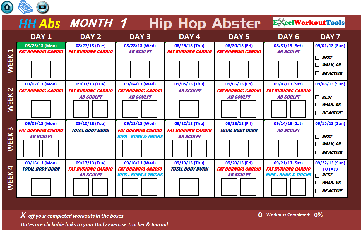 Workout Calendar For Abs : Hip hop abs « excel workout tools