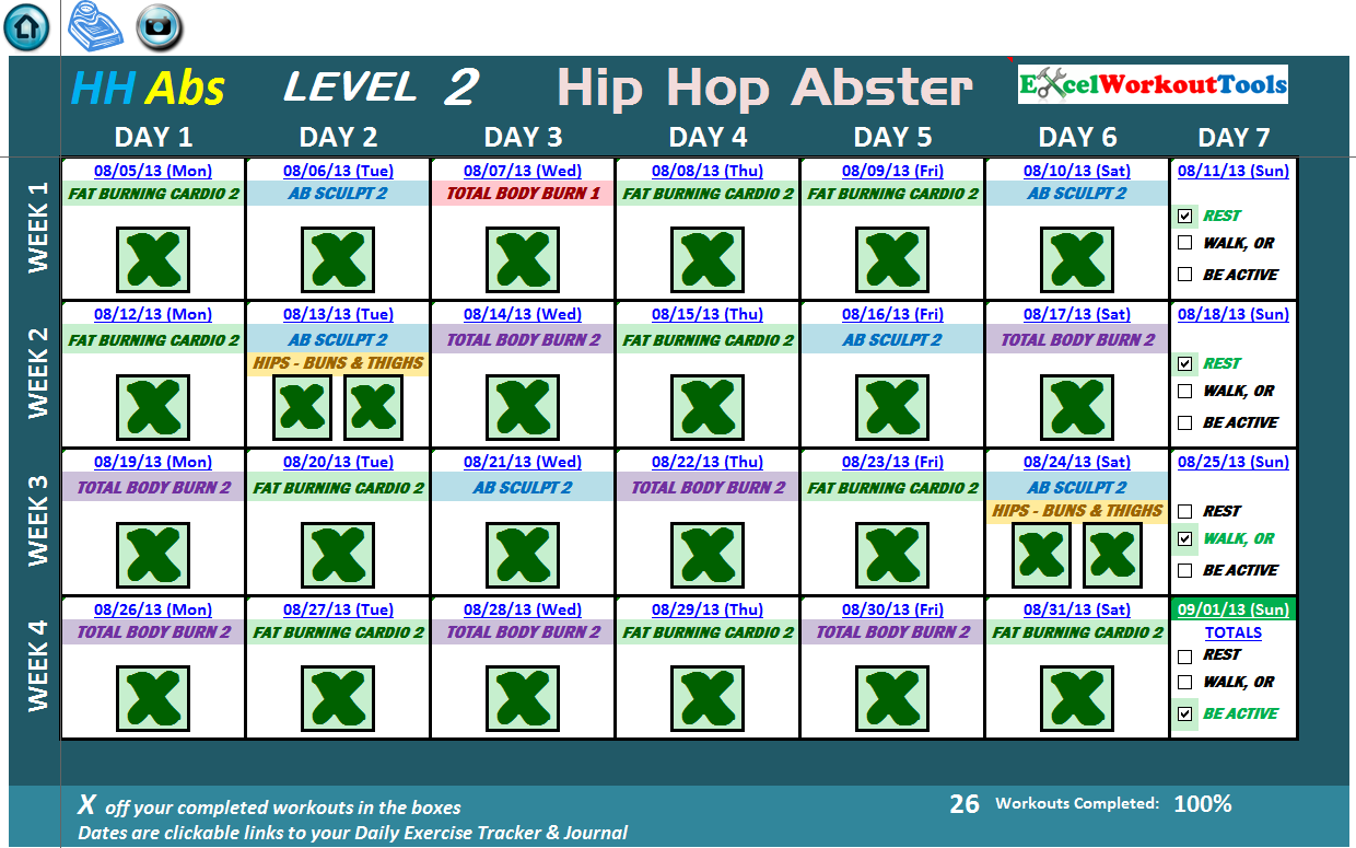 EXCEL WORKOUT TOOLS HIP HOP ABS LEVEL 2 CALENDAR