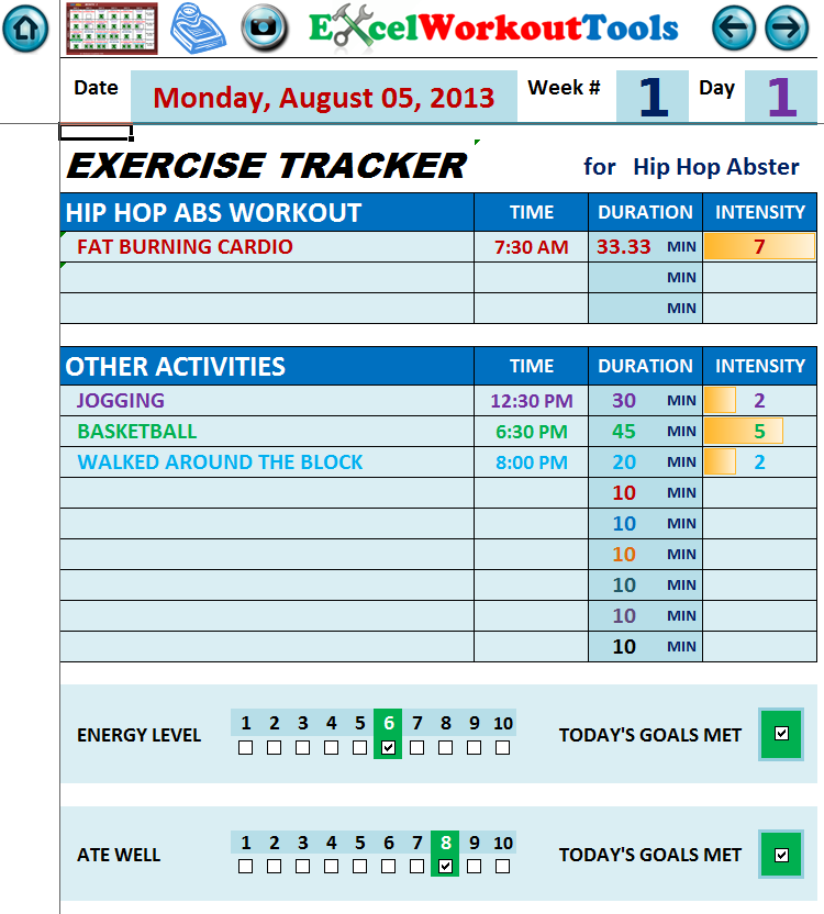 EXCEL WORKOUT TOOLS HIP HOP ABS EXERCISE TRACKER