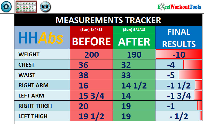 EXCEL WORKOUT TOOLS HIP HOP ABS MEASUREMENTS TRACKER