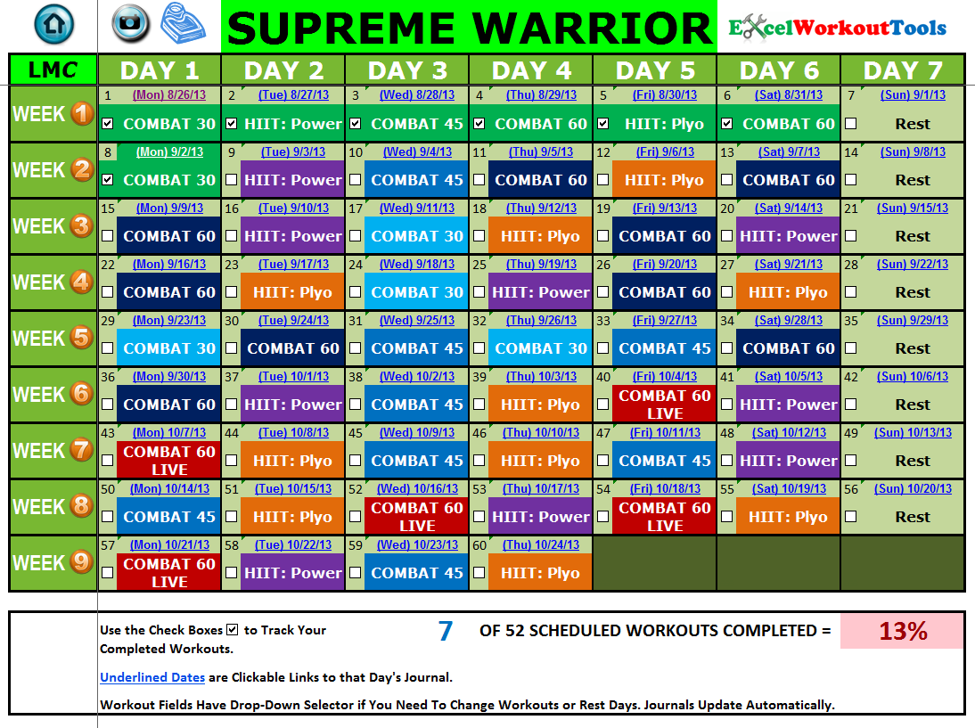 EXCEL WORKOUT TOOLS SUPREME WARRIOR CALENDAR FOR LES MILLS COMBAT
