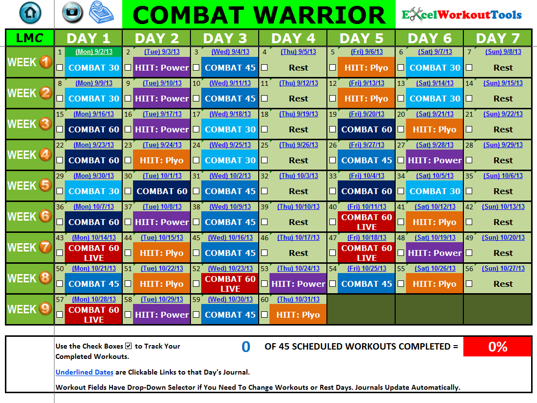 EXCEL WORKOUT TOOLS MASTER CALENDAR FOR LES MILLS COMBAT