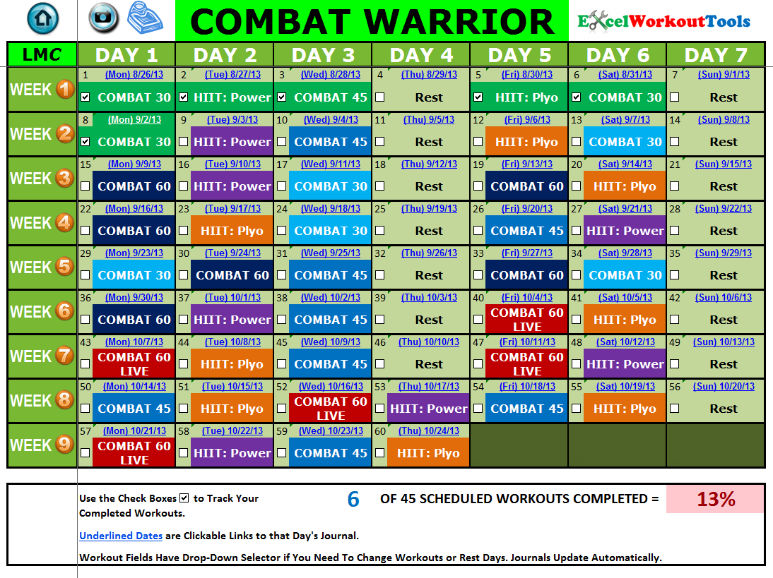 EXCEL WORKOUT TOOLS CALENDAR FOR LES MILLS COMBAT