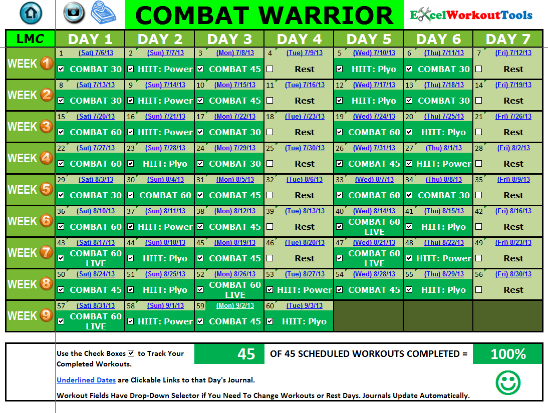 EXCEL WORKOUT TOOLS COMPLETED CALENDAR FOR LES MILLS COMBAT