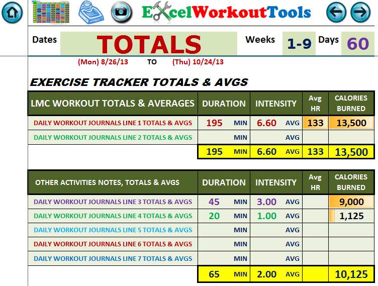 EXCEL LWORKOUT TOOLS EXERCISE TRACKER TOTALS FOR LES MILLS COMBAT