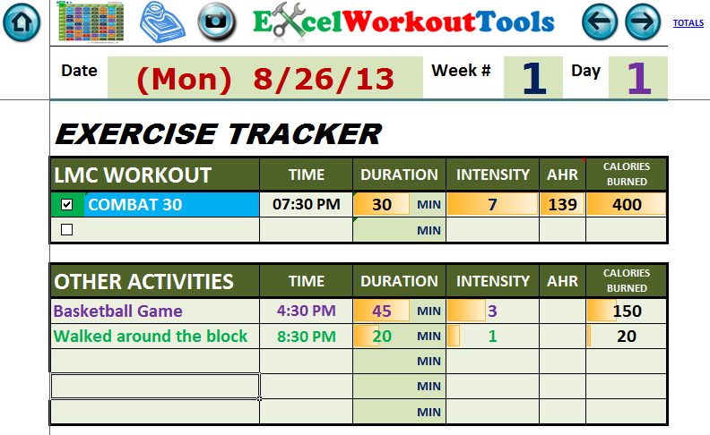 EXCEL WORKOUT TOOLS WEEK 1 DAY 1 WORKED EXERCISE TRACKER FOR LES MILLS COMBAT