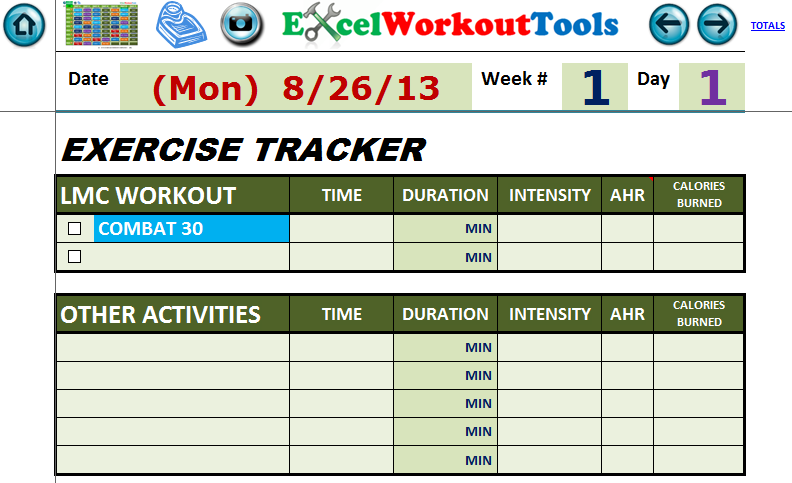 EXCEL WORKOUT TOOLS DAILY EXERCISE TRACKER FOR LES MILLS COMBAT