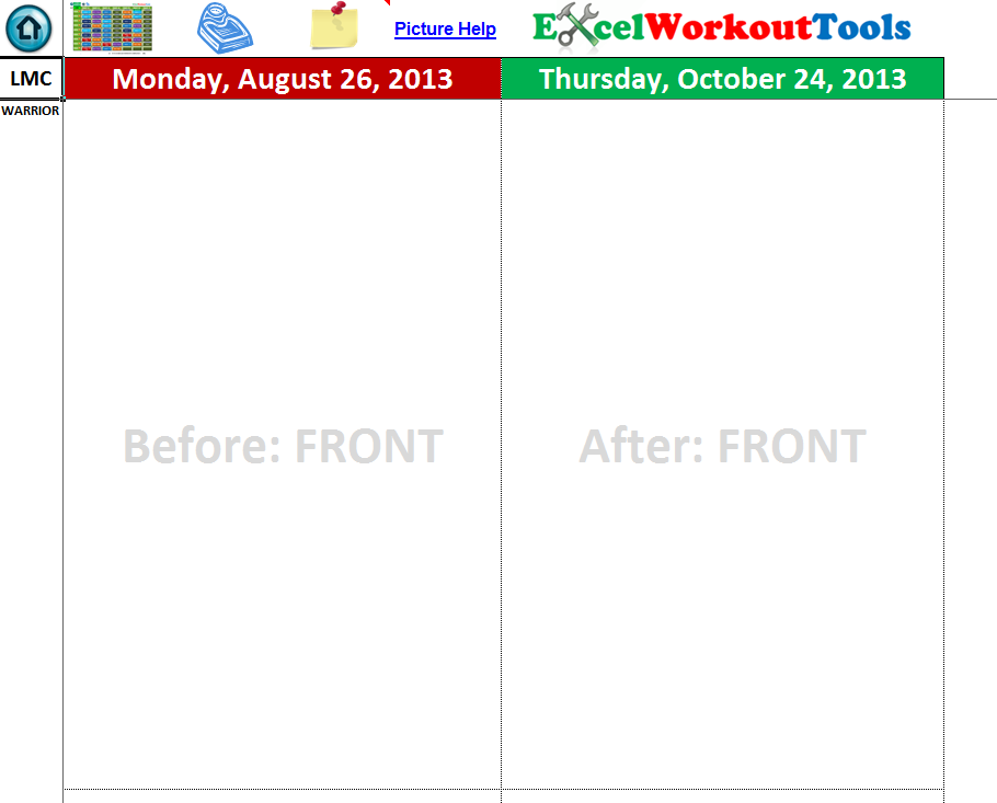 EXCEL WORKOUT TOOLS PHOTO TRACKER FOR LES MILLS COMBAT