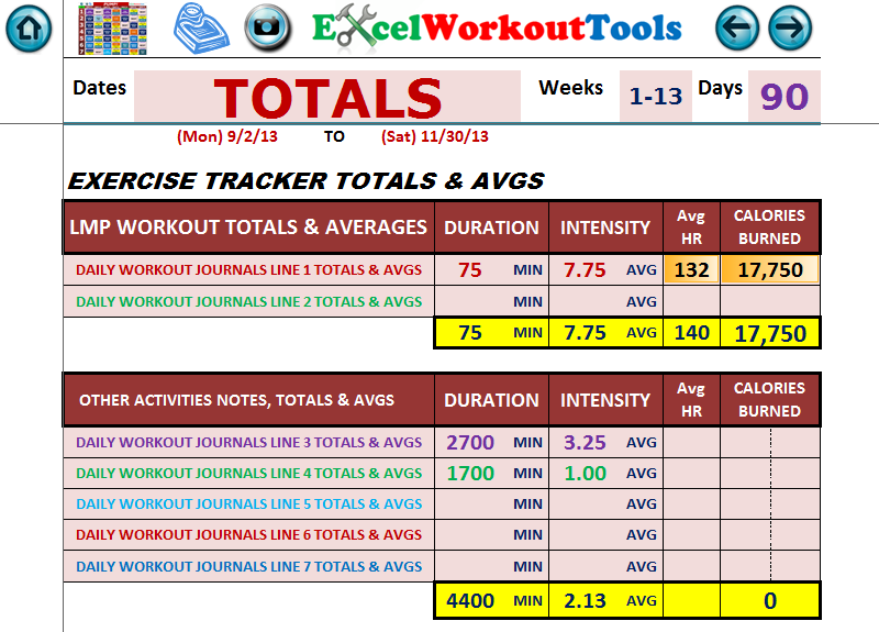 EXCEL WORKOUT TOOLS LES MILLS PUMP DAILY JOURNAL TOTALS PAGE