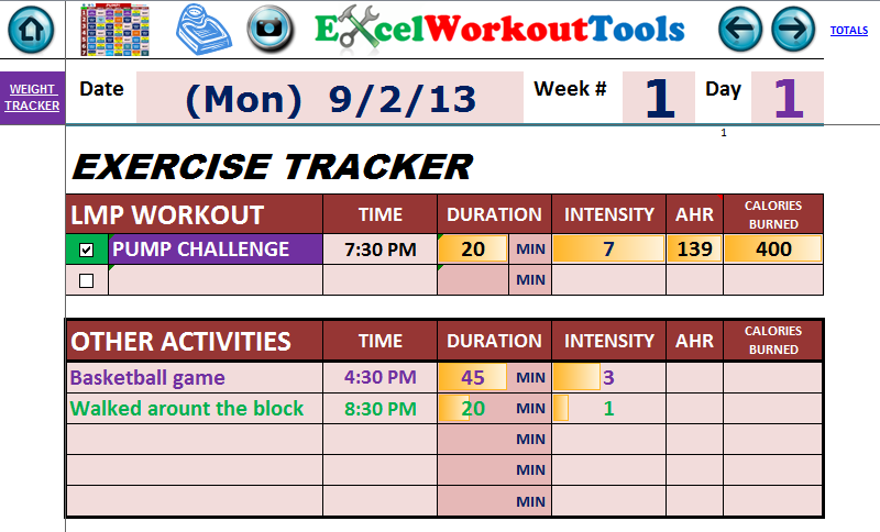 EXCEL WORKOUT TOOLS DAILY EXERCISE TRACKER FOR LES MILLS PUMP