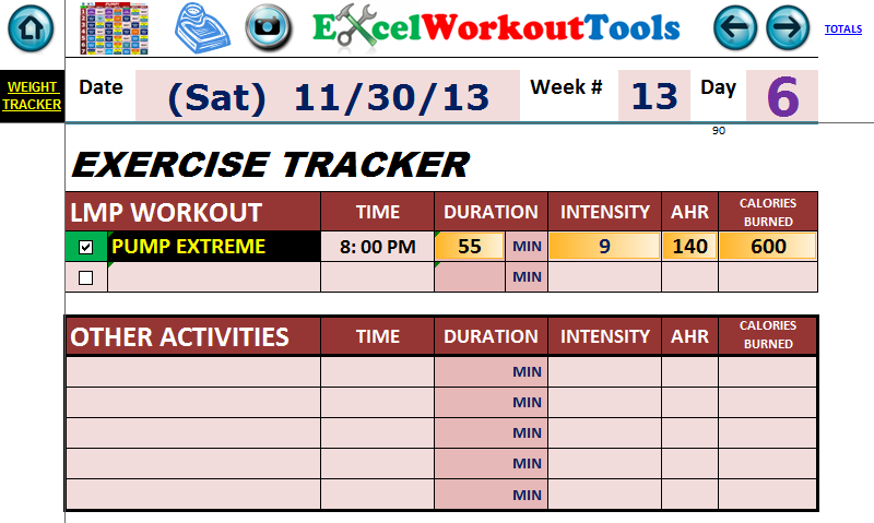 EXCEL WORKOUT TOOL DAILY JOURNAL WEEK 13 DAY 6 FOR LES MILLS PUMP