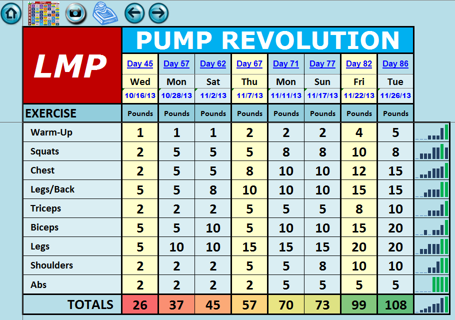 EXCEL WORKOUT TOOLS PUMP REVOLUTION WEIGHT TRACKER