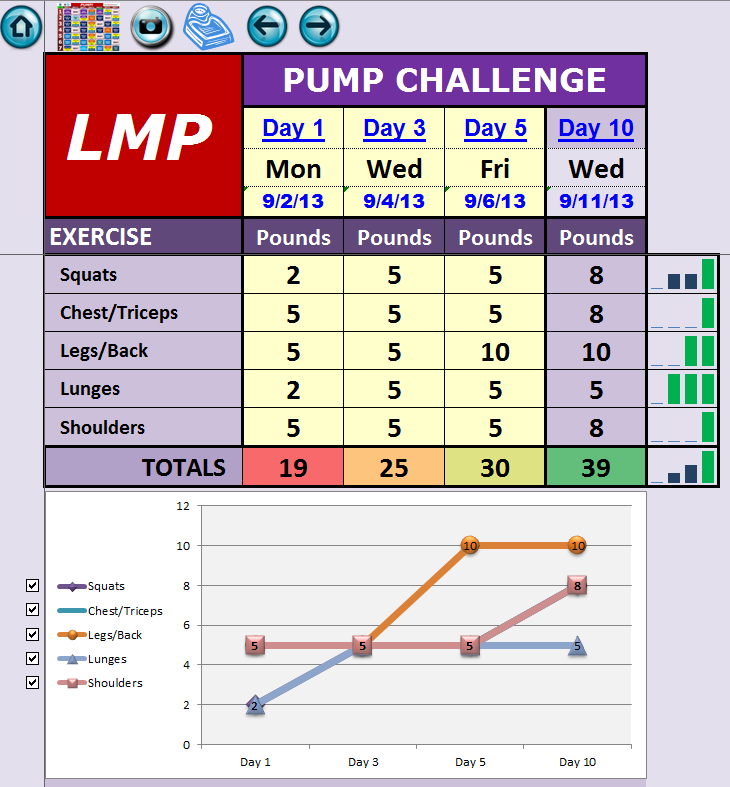 EXCEL WORKOUT TOOLS PUMP CHALLENGE WEIGHT TRACKER FOR LES MILLS PUMP