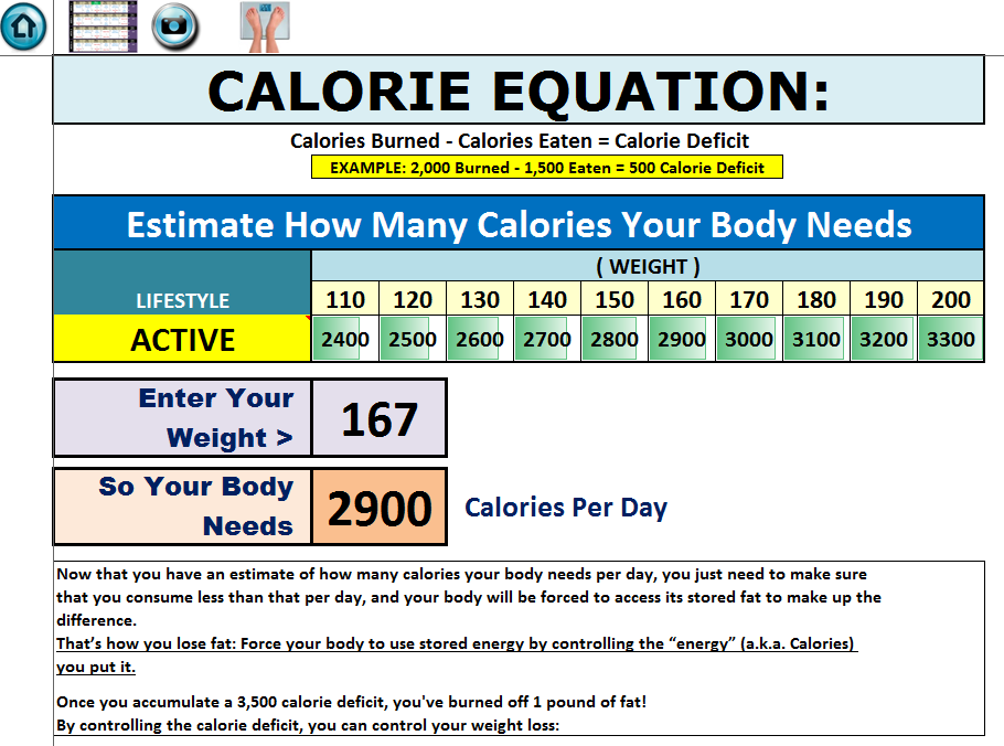 excel workout tools calorie calcuator for rockin body