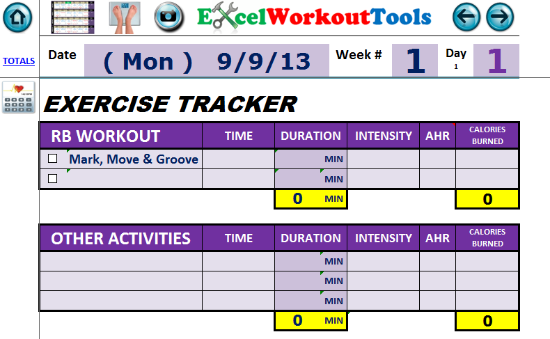 excel workout tool exercise tracker and daily journal for rockin body