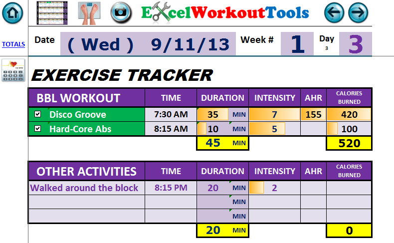 excel workout tools daily journal for rockin body - week 1 day 3