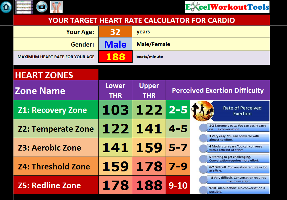 excel workout tools target heart rate calculator for rockin body