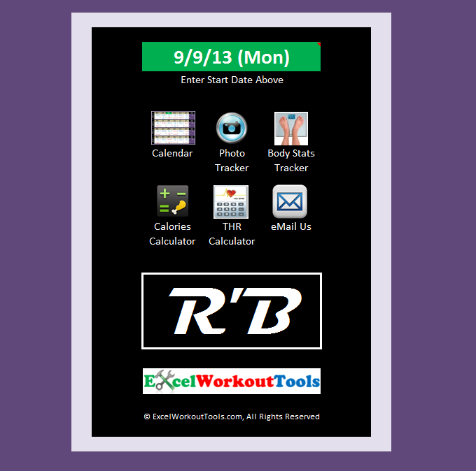excel workout tools main menu for Rockin Body