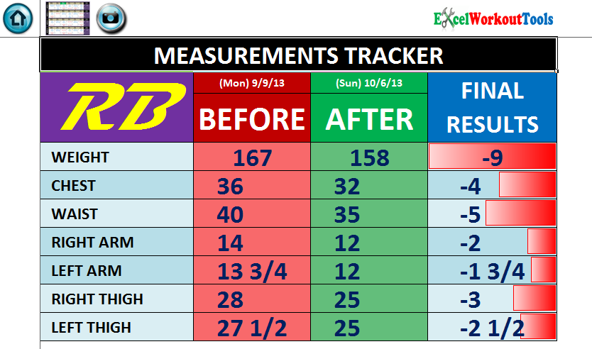 EXCEL WORKOUT TOOLS MEASUREMENTS TRACKER PAGE FOR ROCKIN BODY