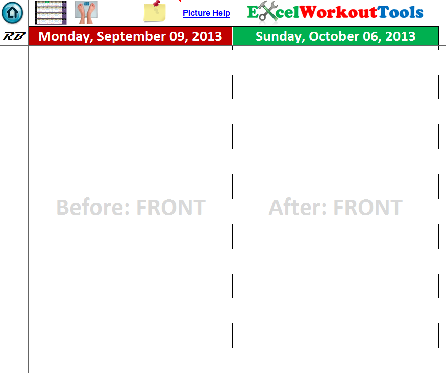 EXCEL WORKOUT TOOL PHOTO TRACKER PAGE FOR ROCKIN BODY