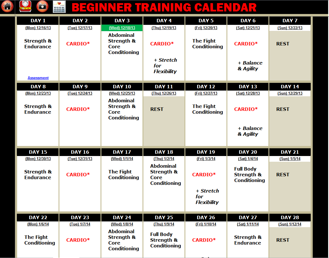 Gsp rushfit intermediate calendar