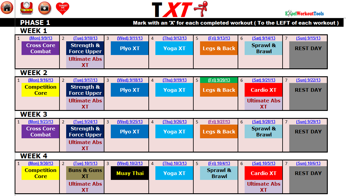 EXCEL WORKOUT TOOLS MASTER CALENDAR FOR TAPOUT XT