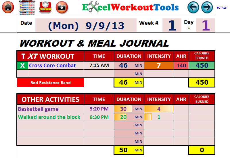 EXCEL WORKOUT TOOLS WORKOUT AND MEAL JOURNAL FOR TAPOUT XT