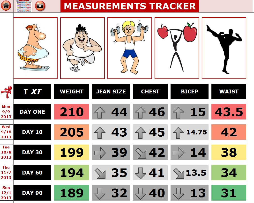 EXCEL WORKOUT TOOLS COMPLETED TRANSFORMATION TRACKER FOR TAPOUT XT