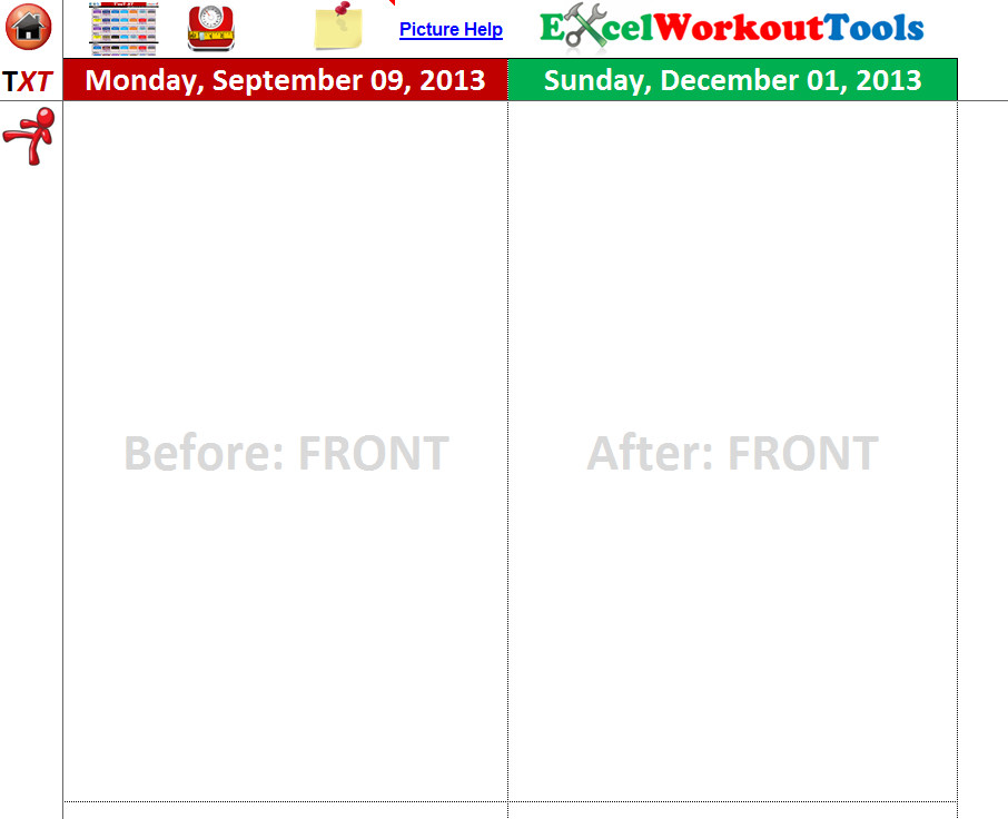 EXCEL WORKOUT TOOLS PHOTO TRACKER PAGE FOR TAPOUT XT