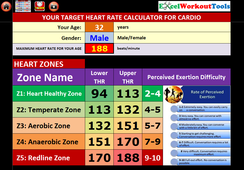 EXCEL WORKOUT TOOLS TARGET HEART RATE CALCULATOR FOR TAPOUT XT