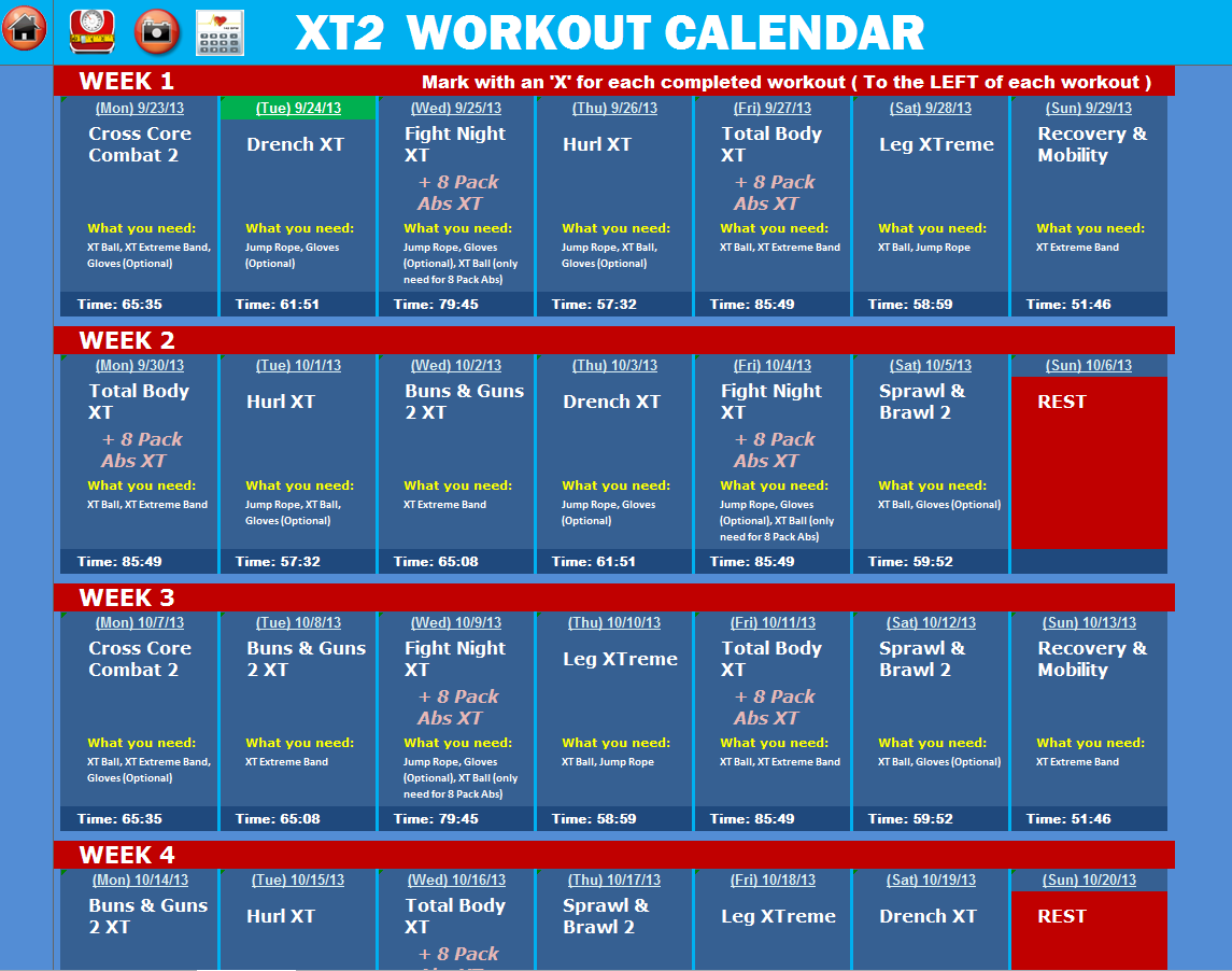 Excel Workout Tools